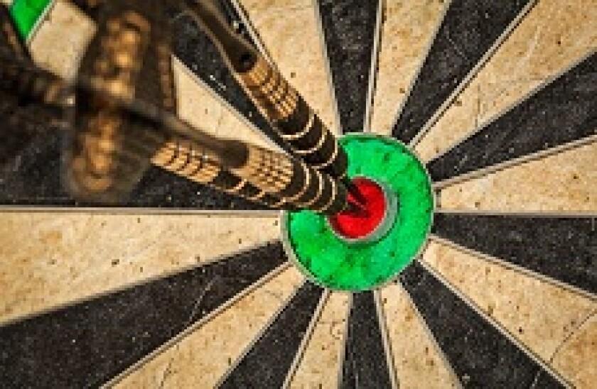 Three darts in bullseye 230x150