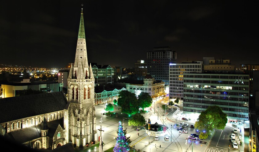 Night Scene of Cathedral in Christchurch, New Zealand