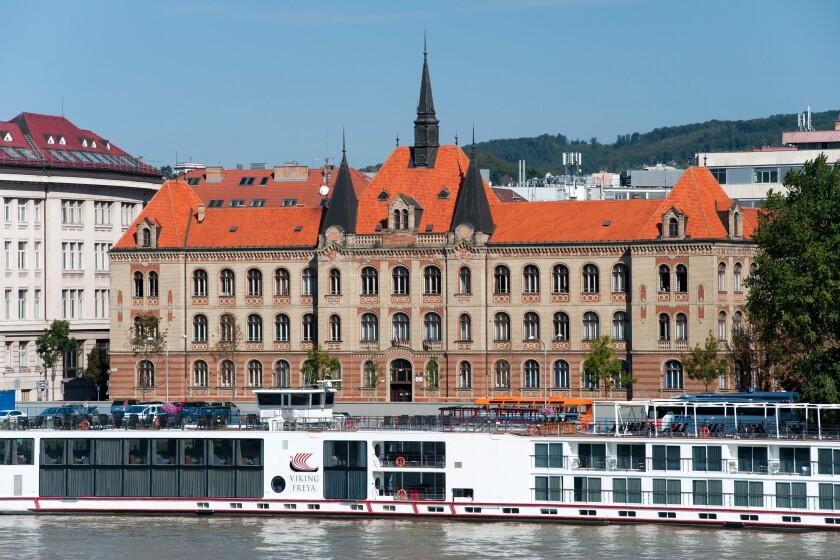 The Stredna Priemyselna Skola Strojnicka building on the banks of the Danube in Bratislava, the capital of Slovakia.