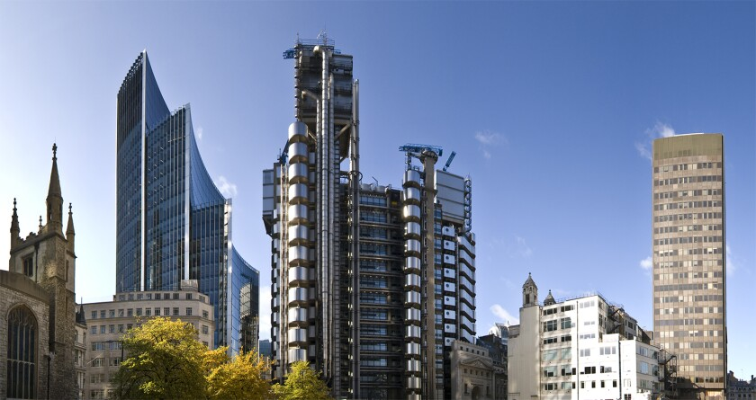 Tall structural London buildings financial district Lloyds building.jpg
