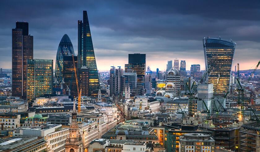 City of London. London's panorama at sun set.