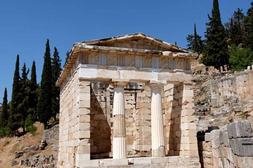 The Treasury of the Athenians. Delphi , UNESCO World Heritage Site, Peloponnese, Greece, Europe