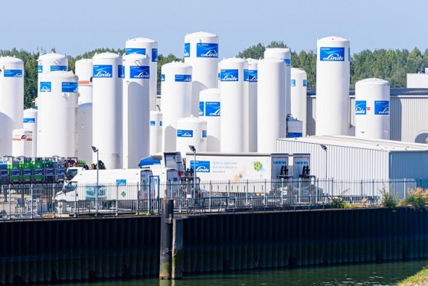 Industrial gas storage tanks from world's largest supplier of industrial gases, Linde, Rotterdam, Netherlands.