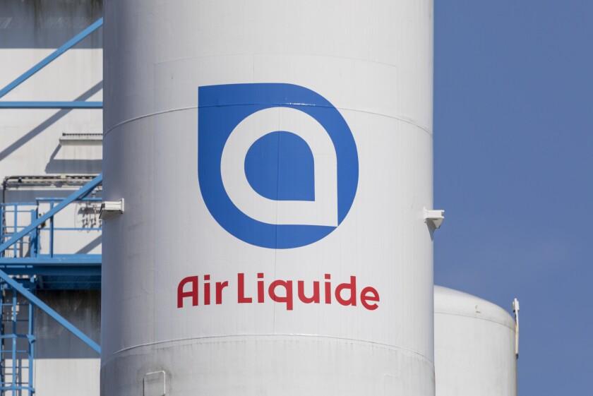 Air Liquide company logo on gas tank at German plant