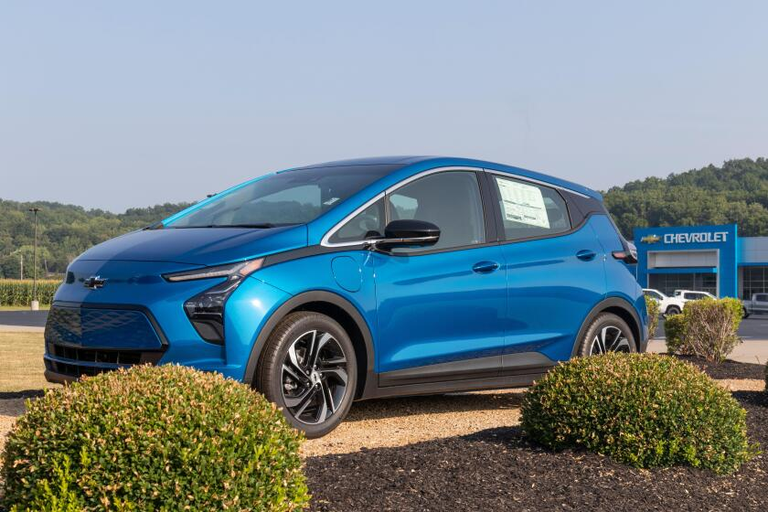 West Harrison - Circa August 2021: Chevrolet Bolt EV electric vehicle display. Chevy is a division of GM and offers the Bolt EV with 200 horsepower an