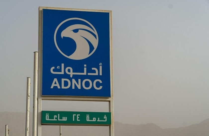 Adnoc Gas Station blue sign a petrol gas station in the Middle East.Copy right.