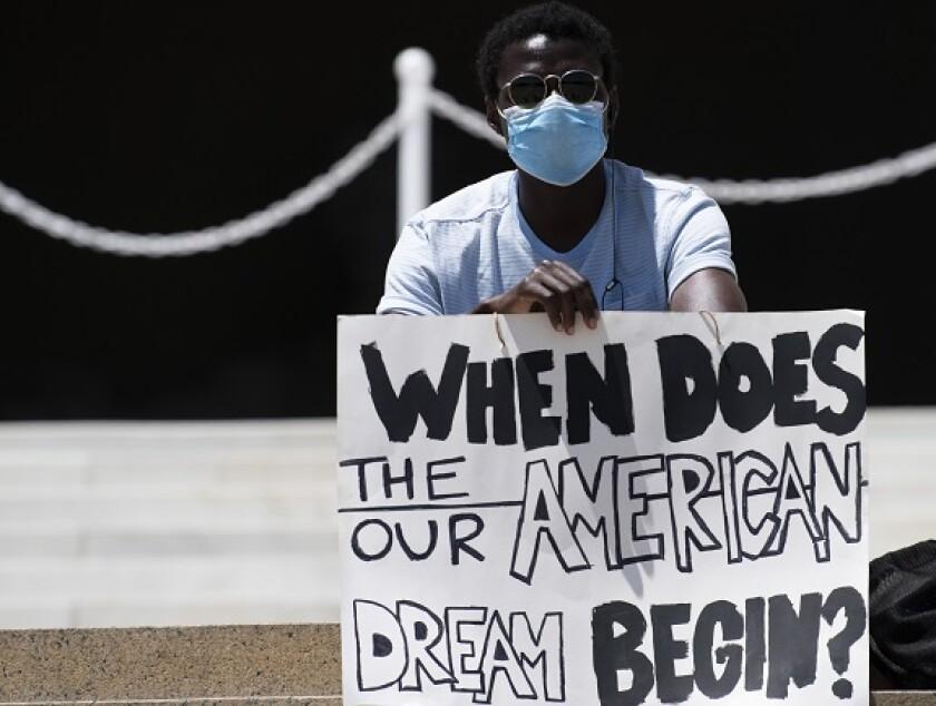 American dream black protestor George Floyd from PA 2Jun20 575