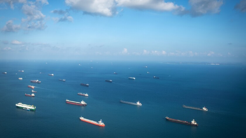 Transport ships at the ocean, Singapore