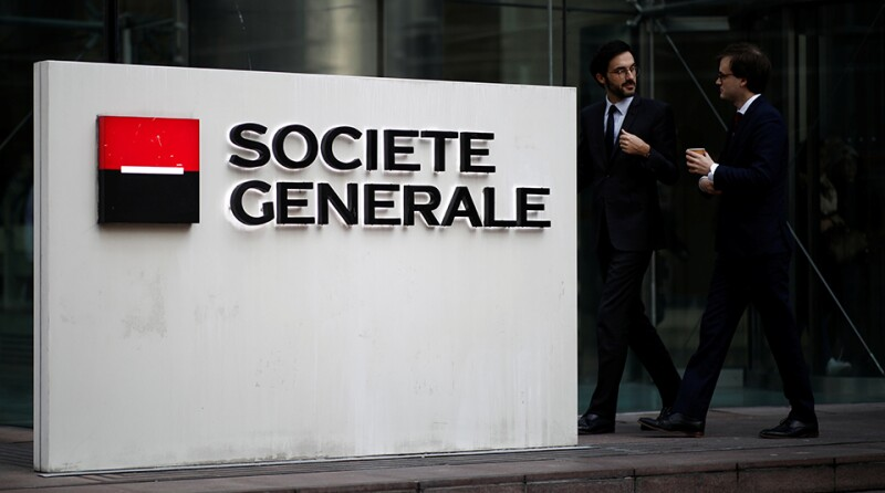 The logo of Societe Generale is seen on the headquarters at the financial and business district of La Defense near Paris