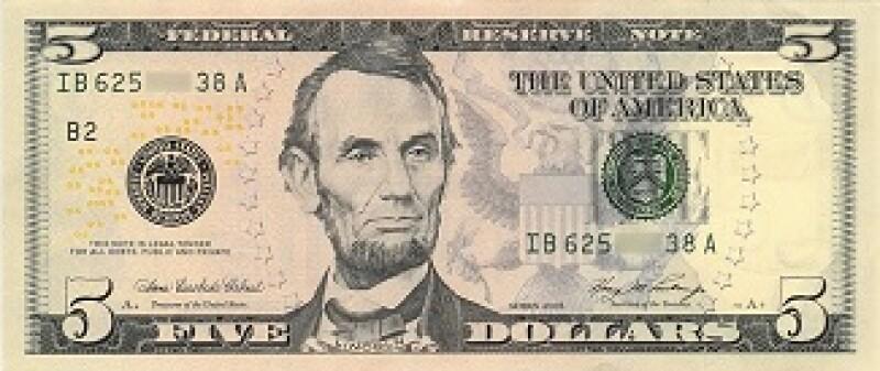 US dollar 5 small