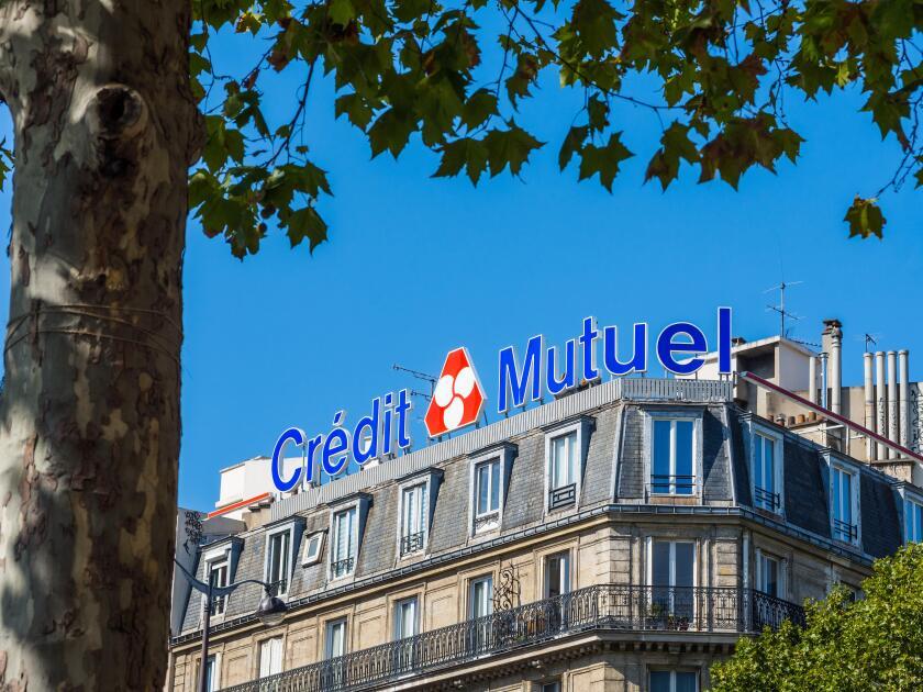 """Credit Mutuel"" bank signage, Montparnasse, Paris, France."