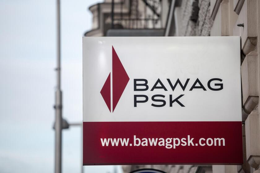 VIENNA, AUSTRIA - NOVEMBER 6, 2019: Bawag PSK logo in front of their office for Vienna. Bawag PSK is an Austrian retail and commercial bank, the fourt