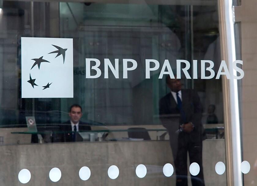 Exterior shot of BNP Paribas Bank, 10 Harewood Avenue, London.