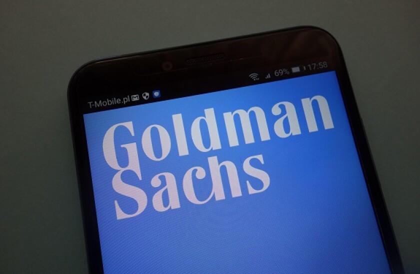 logo of the brand Goldman Sachs on a modern smartphone