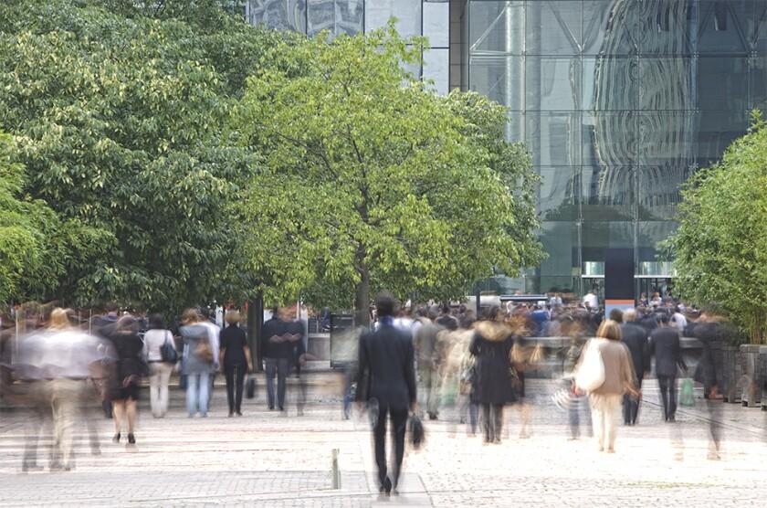 Business people walking in a financial district commuters trees green.jpg