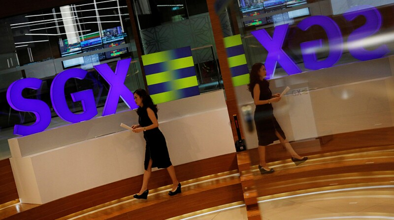 An SGX sign is pictured at Singapore's stock exchange