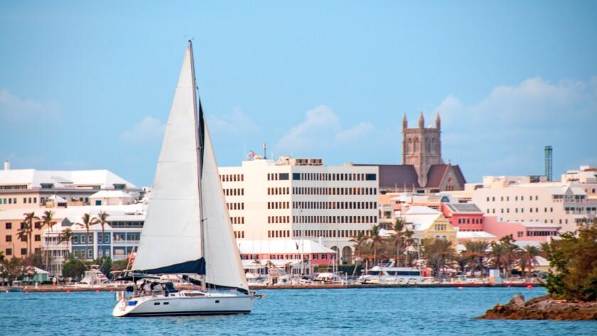 Sailboat in the Hamilton, Bermuda, harbor.