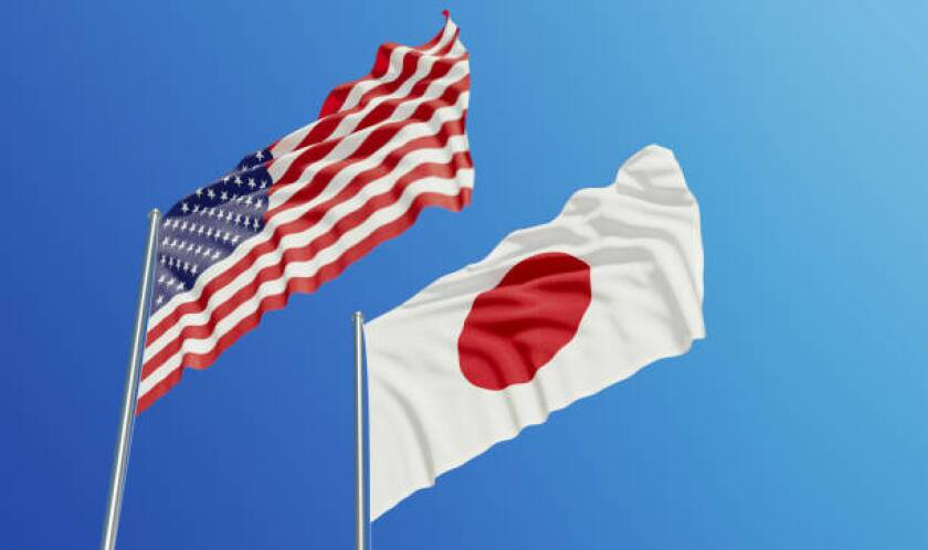 The American and Japanese flag