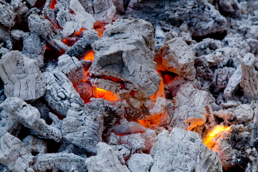 Charcoal embers ready for grilling