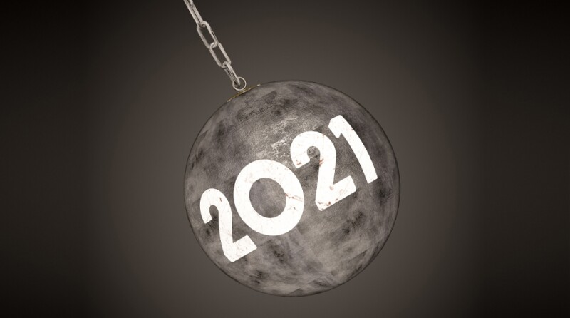 2021 New Year Concept with Wrecking Ball