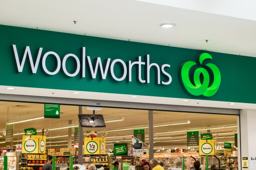 Sydney, Australia 2020-11-19 Sign board of Woolworths supermarket. Woolworths is an Australian supermarket, retail and consumer services chain.