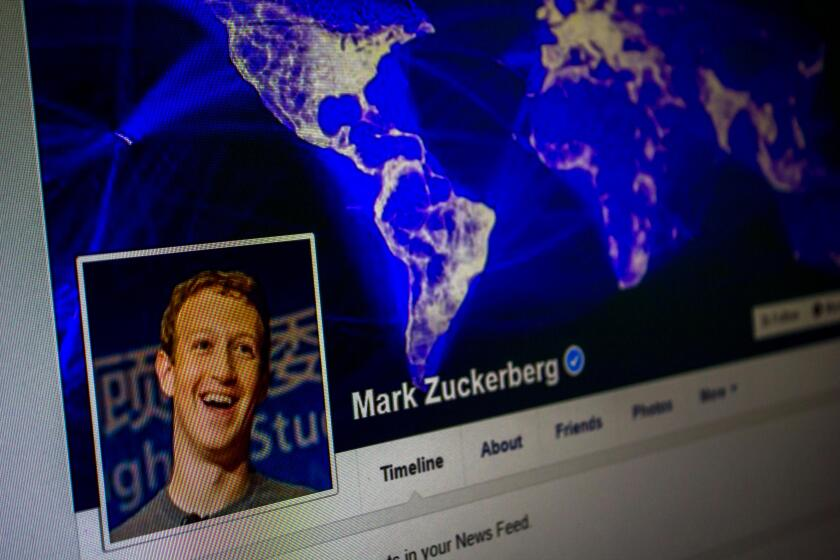 Facebook profile of Mark Zuckerberg