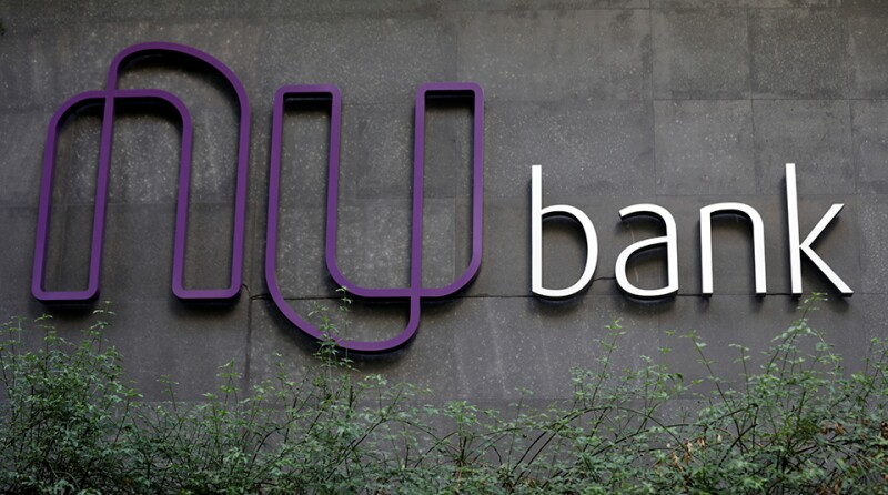 The logo of Nubank, a Brazilian FinTech startup, is pictured at the bank's headquarters in Sao Paulo