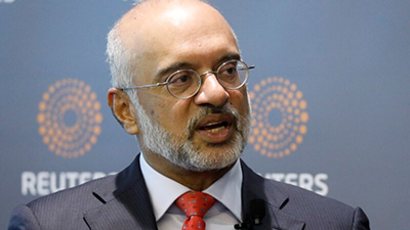 DBS CEO Piyush Gupta speaks during a Reuters Newsmaker event in Singapore