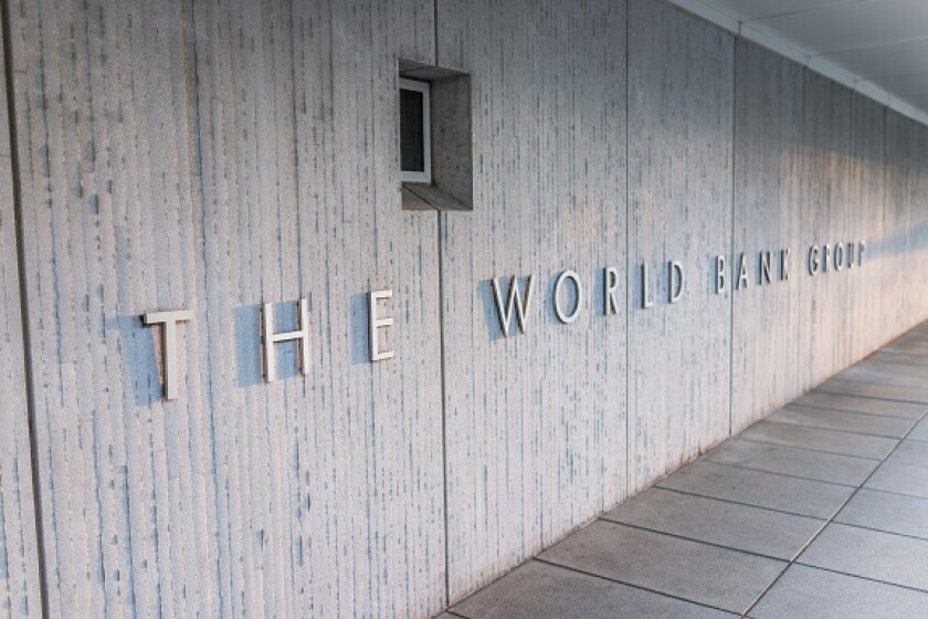 Washington DC, USA - March 4, 2017: World Bank Group sign on building exterior