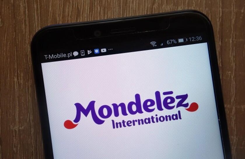 Mondelez International logo displayed on a modern smartphone