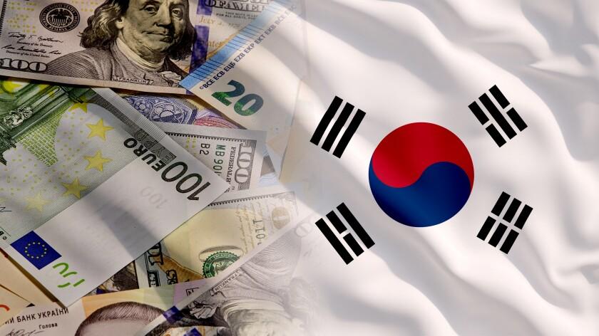 Waving Money and South Korea Flag