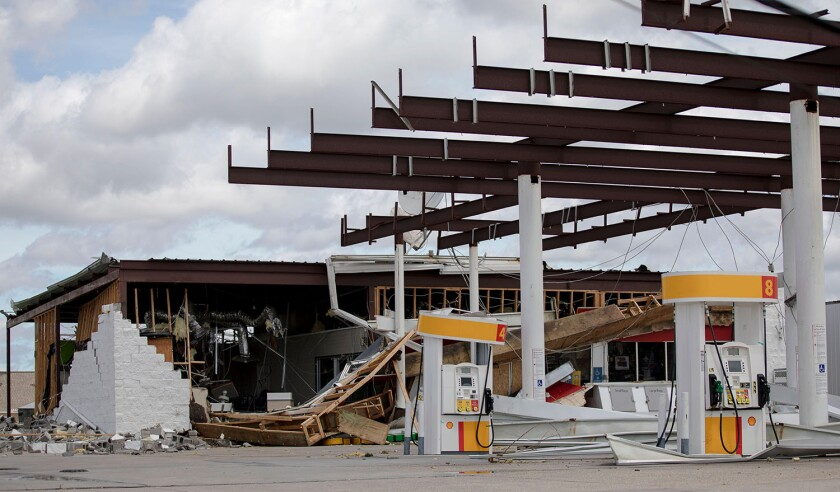 Houma, USA. 30th Aug, 2021. A gas station is seen destroyed by Hurricane Ida in Houma, Louisiana, the United States, Aug. 30, 2021. With stranded people waiting for rescue on damaged roofs, flooded roads blocked by downed trees and power lines, and over o