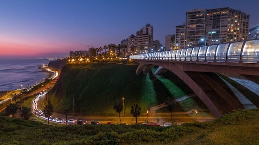 Peru, Lima, Miraflores, bridge, electricity, lights, LatAm, 575
