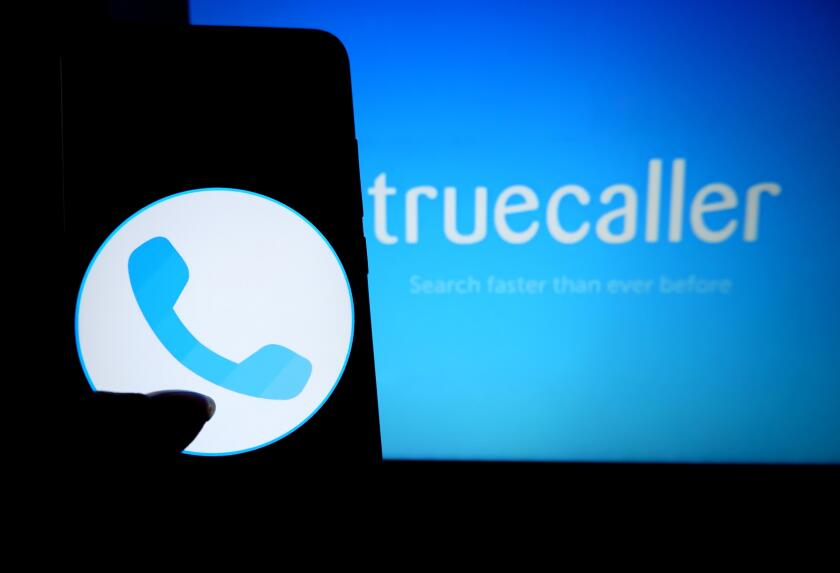 India. 17th Aug, 2019. In this photo illustration a popular calling application Truecaller logo seen displayed on a smartphone. Credit: Avishek Das/SOPA Images/ZUMA Wire/Alamy Live News