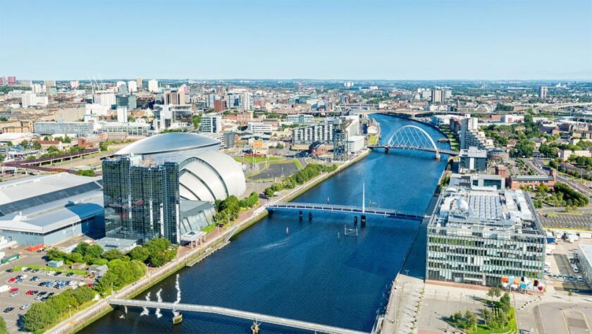River Clyde and landmarks Glasgow Scotland UK.jpg
