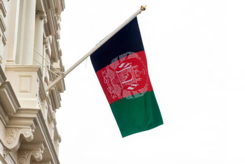The flag of Afghanistan flying on the Embassy of the Islamic...