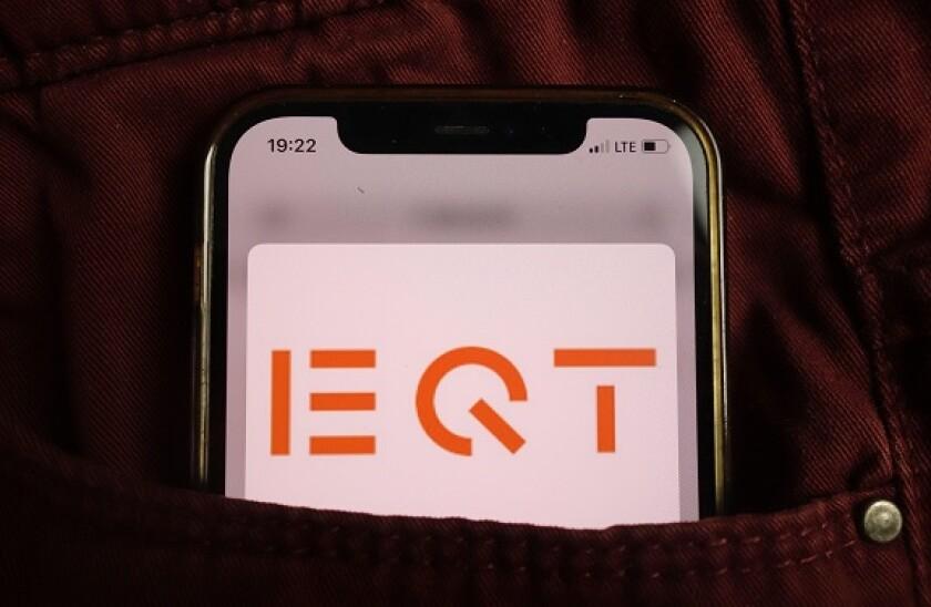 KONSKIE, POLAND - August 17, 2021: EQT AB Group logo displayed on mobile phone hidden in jeans pocket