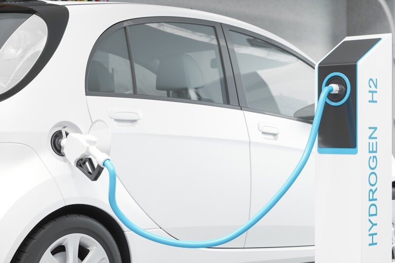 Hydrogen Fuel Filling The White Car On The Filling Station For Eco Friendly Transport