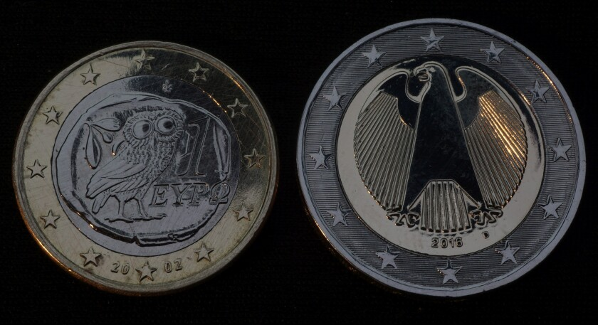 Greek and German euro coins