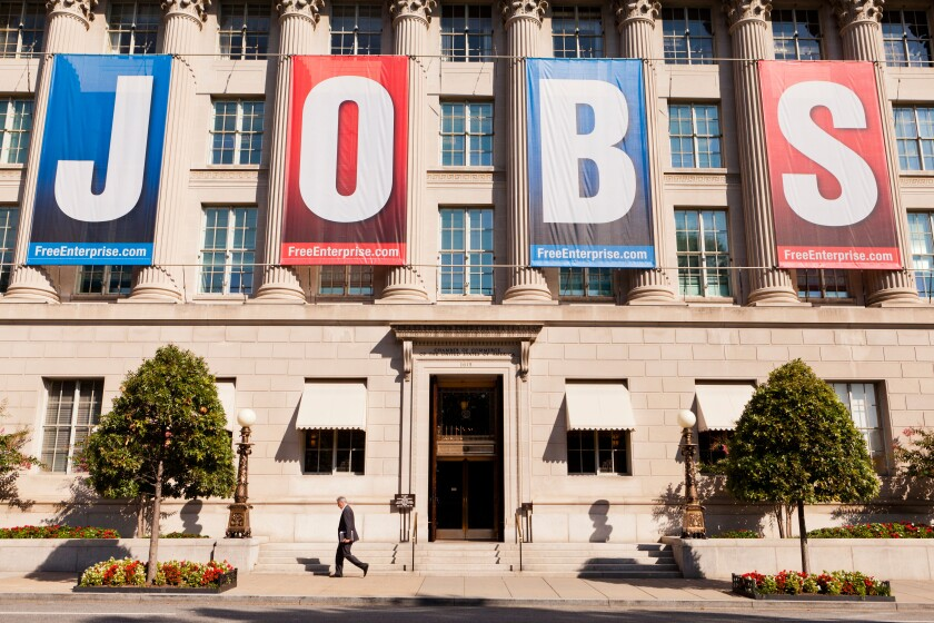 Large JOBS banner on US Chamber Of Commerce Building - Washington, DC USA