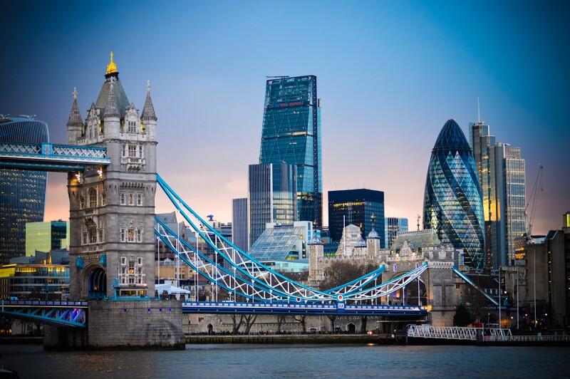 Amazing London skyline with Tower Bridge during sunset