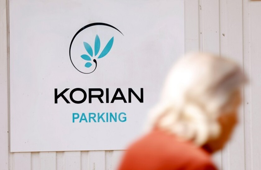 The logo of a Korian retirement home (Ehpad) is seen in Paris during a lockdown imposed to slow the rate of the coronavirus disease (COVID-19) in France, April 24, 2020.  REUTERS/Charles Platiau