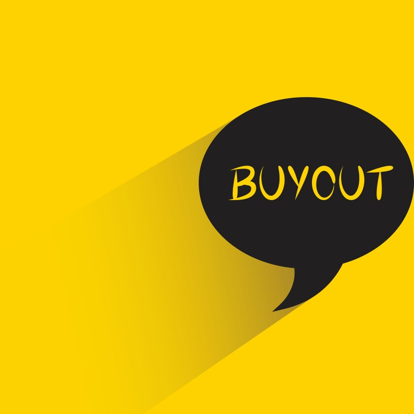 speech bubble yellow background with buyout word