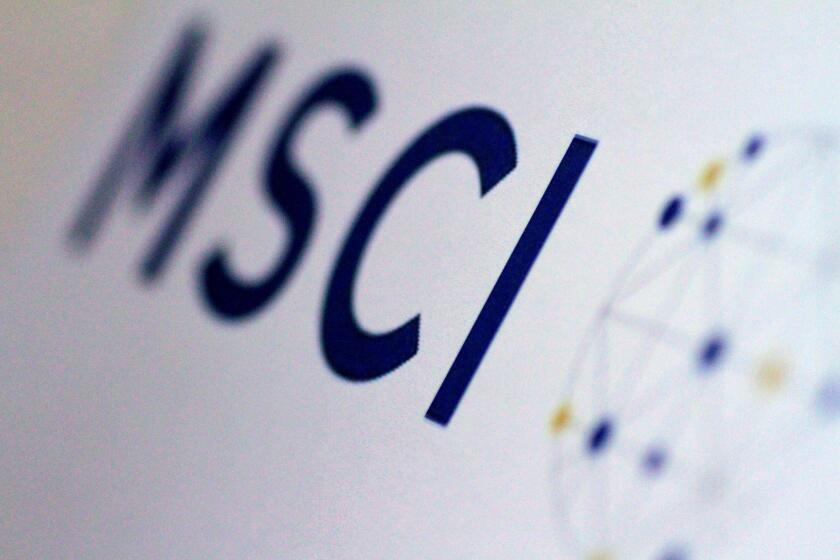 The MSCI logo is seen in this June 20, 2017 illustration photo.      REUTERS/Thomas White/Illustration