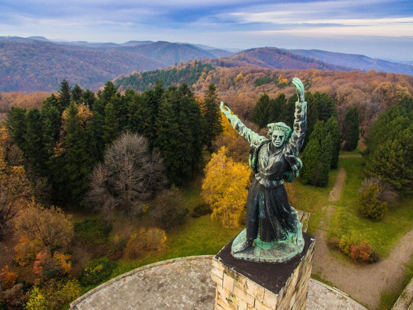 Liberty monument on Iriski venac on mountain Fruska Gora in Serbia