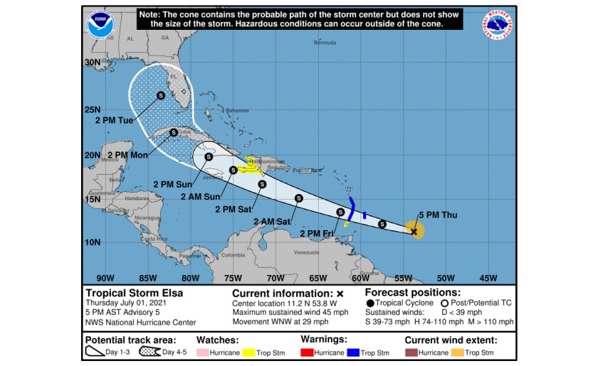Tropical Storm Elsa path 1 July NOAA.jpg