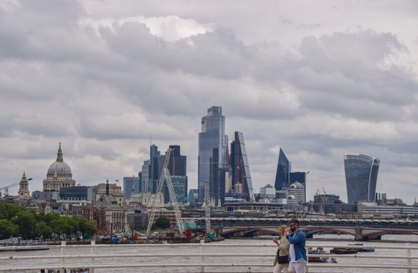 City of London skyline panorama on an overcast day. London, United Kingdom. 5th August 2021.