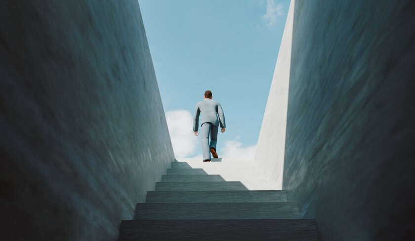 Man walks the ladder of success and reaches the top