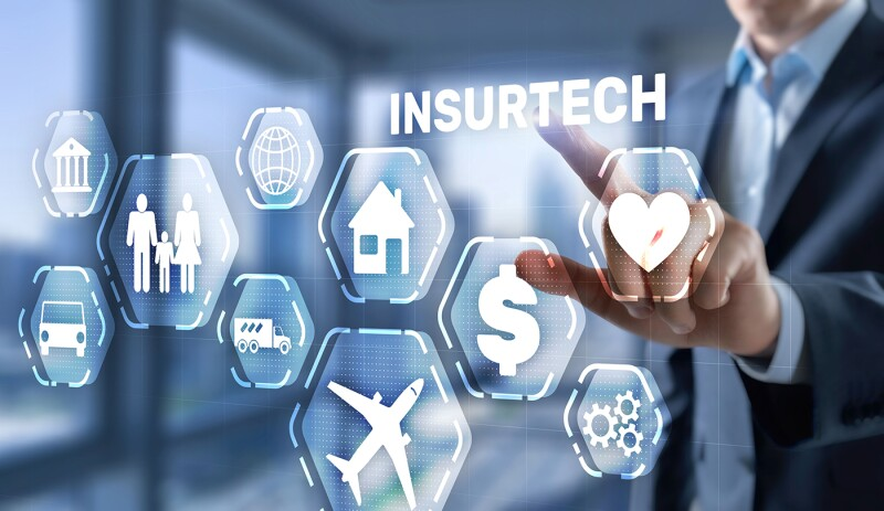 Insurtech. Health family life property insurance concept.