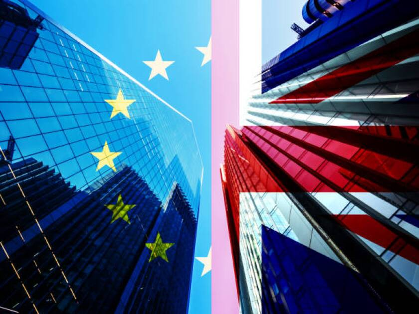 Concept piece containing a City of London Skyscraper scene with the Union Jack and EU Flag overlaid as both the UK and EU try to negotiate a trade deal before Brexit on the 1st January 2021